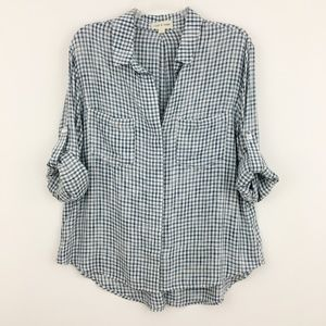 Anthropologie Cloth & Stone Plaid Split Back Shirt